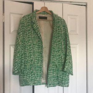 Zara basic green and white blazer jacket